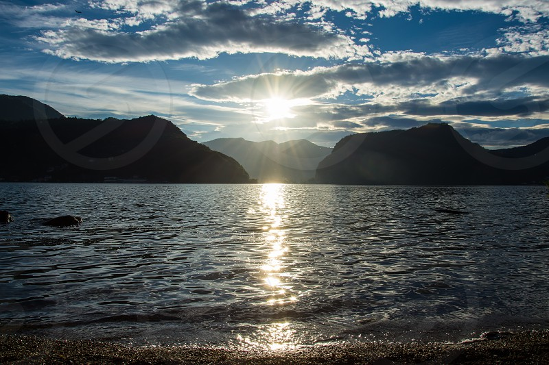 sunset at lake Lugano Switzerland photo