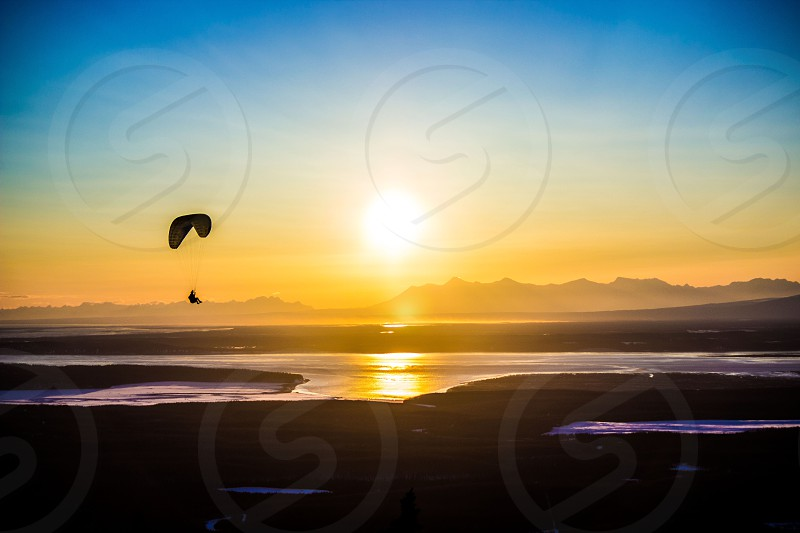 Paragliding in the Alaskan Sunset photo