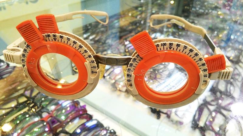 Closeup of trial frame eyeglasses photo