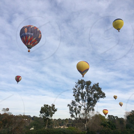 7 flying hot air balloons photo