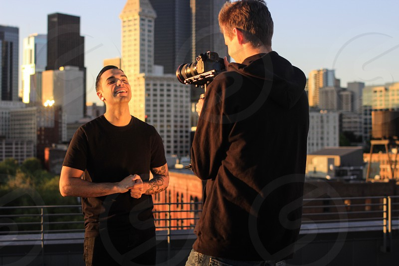 Ryan Caraveo on set for the music video. photo