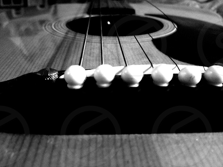 Guitar music strings black and white instrument photo