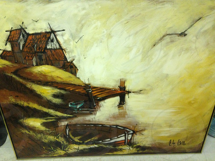 brown wooden dock near the brown house painting photo