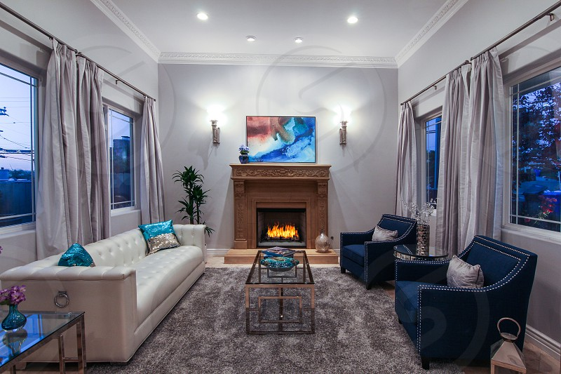 Real estate interior twilight shot of a living room photo
