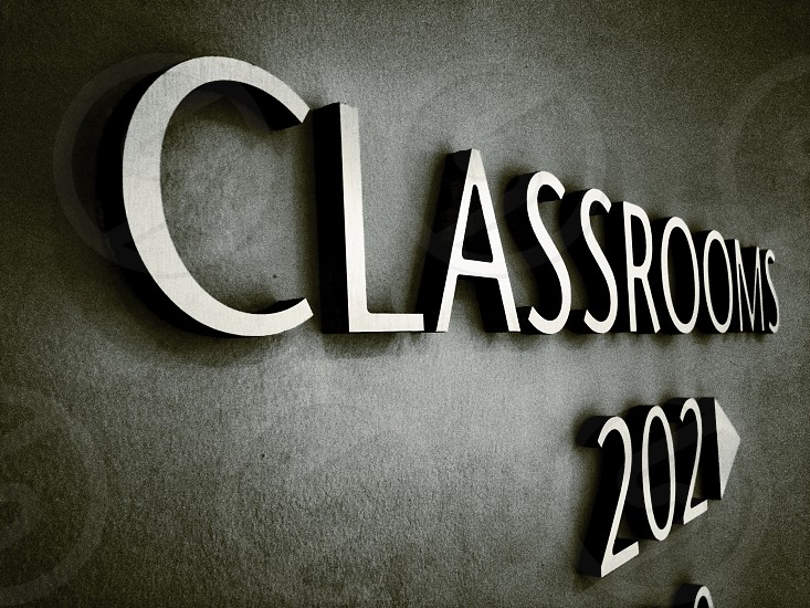 stainless classrooms 202 sign photo