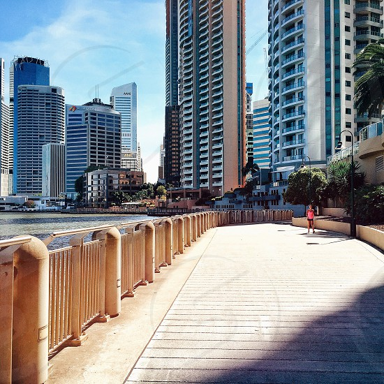baywalk with brown steel railing photo