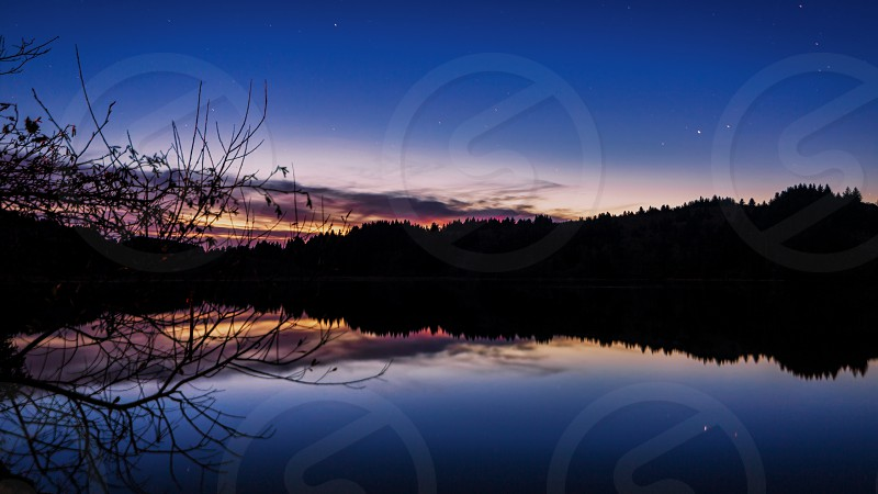 Color image of a beautiful blue hour sunset overlooking the Stone Lagoon in Northern California. photo