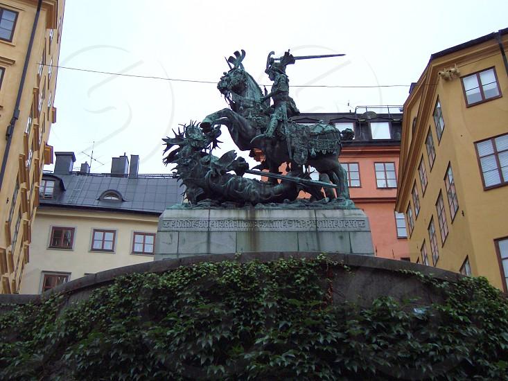 St. George statue in Stockholm Sweden.  photo