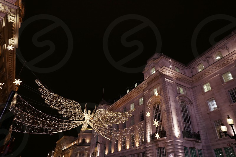 Picadilly Circus Xmas decorations London. photo