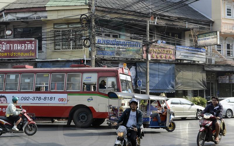 Eine Strassenszene im Stadtteil Banglamphu in der Hauptstadt Bangkok von Thailand in Suedostasien. photo