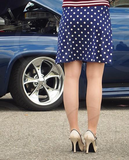 polka dots skirt legs high heels blue rim engine american car no filters at all photo