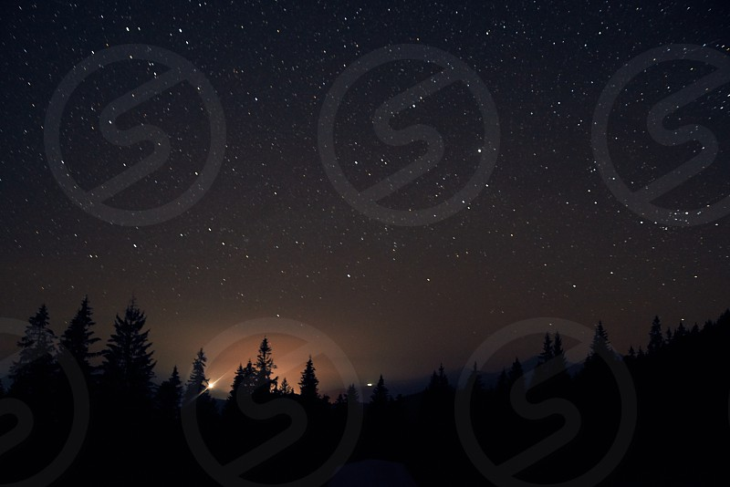 Starry sky above the earth scenic night landscape photo