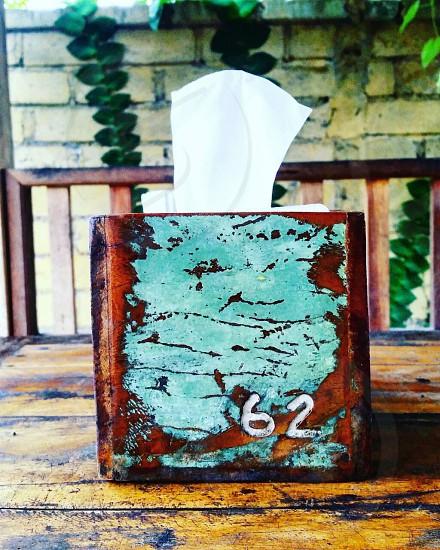 Rustic turquoise vintage napkin holder.  photo