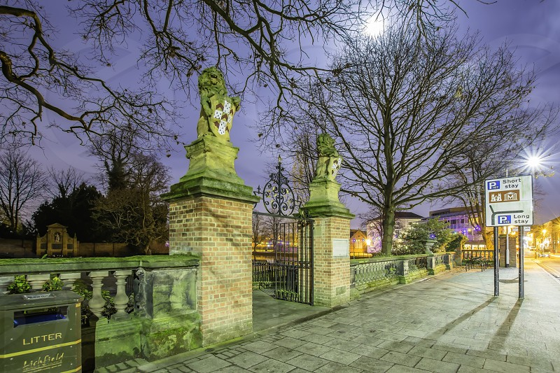 Lichfield town center at night.Park gatetrees and moonlight.StaffordshireUk. photo