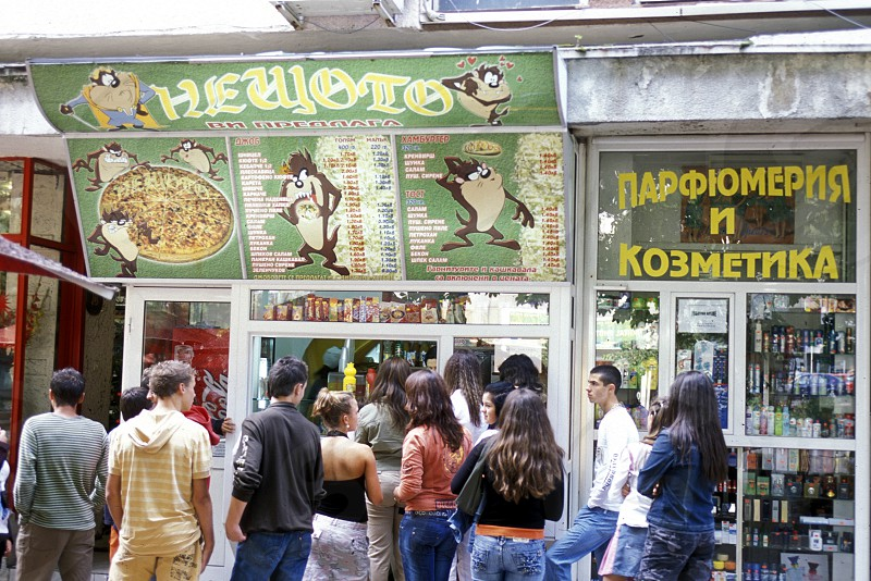 a fast food shop in the city of Veliko Tarnovo in the north of Bulgaria in east Europe. photo