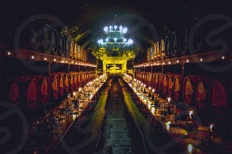 underground wine cellar basement barrels of wine alcohol photo