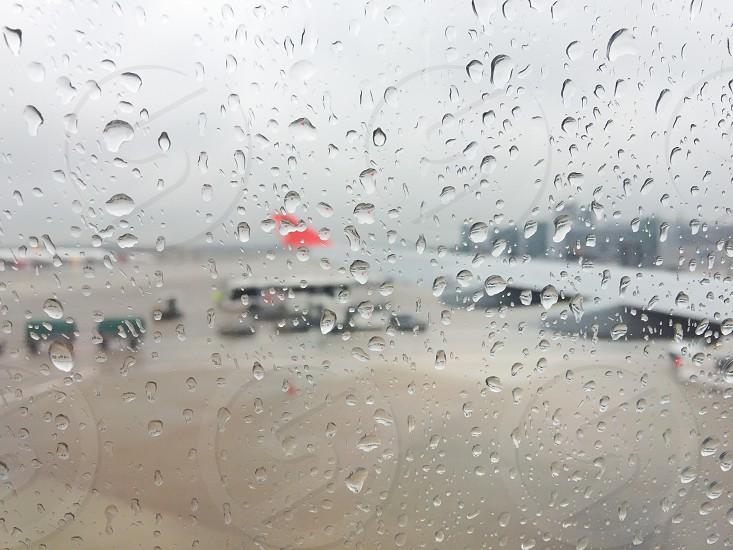 Airport rainy travel nobody raindrops Glass window photo