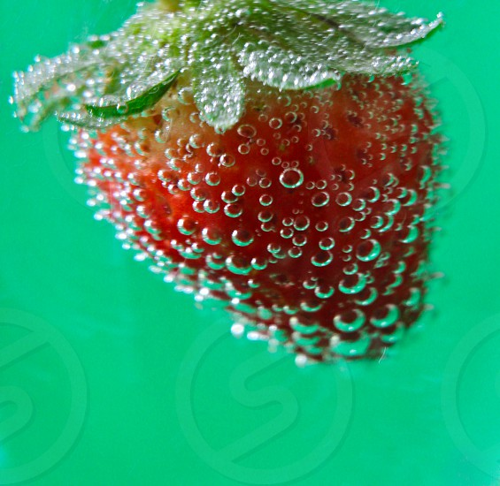 water bubbles sticking on to strawberry slow mo photo photo