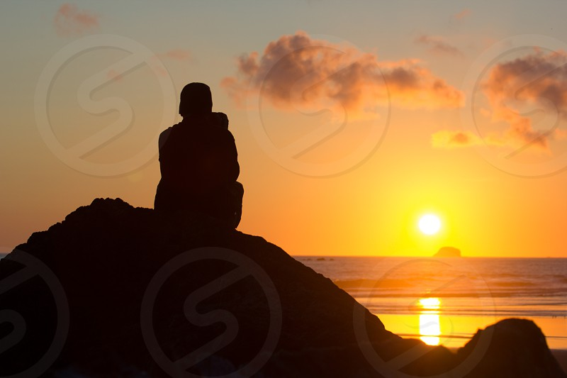 Beach Ocean Sunset Silhouette Alone photo