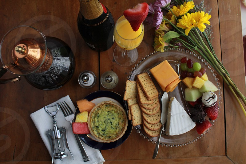 Brunch mimosa coffee cheese photo