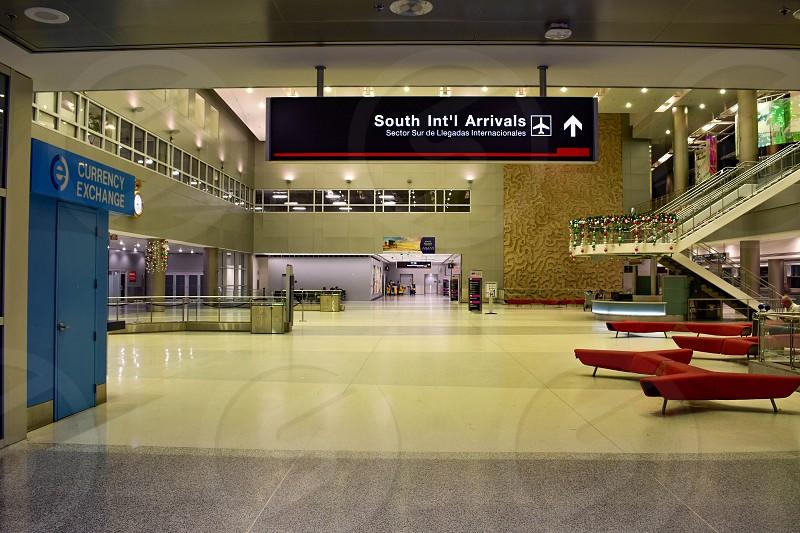 Miami Florida. January 05 2019. South International arrivals sign  at Miami International Airport. photo
