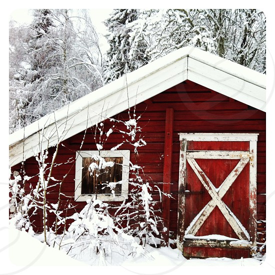 red painted wooden house on the snow photo