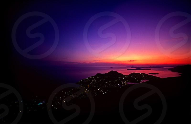 Dubrovnik dusk port Elaphite islands sunset Fuji Velvia 50 film photo