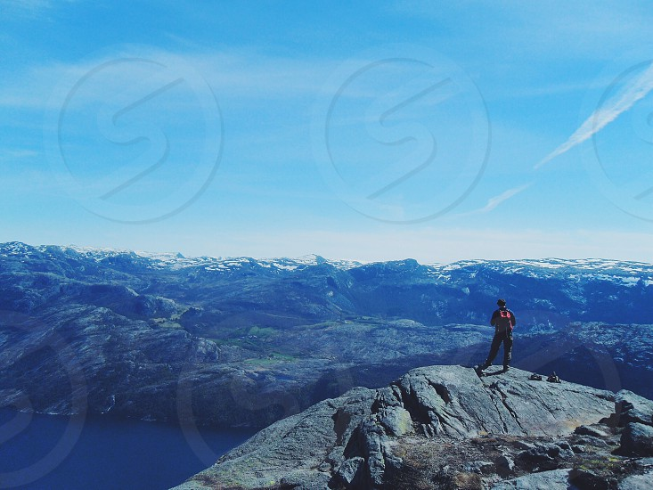 Norway adventure pulpit rock travel activity fun nature beautiful scenic  photo