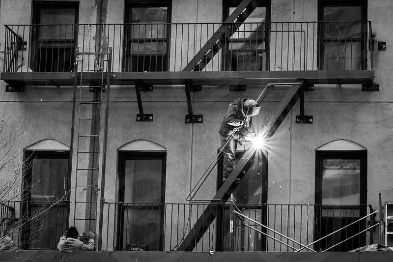 Building an Escape - building Construction New York New York City NorthshirePhoto NY NYC Street Photgraphy welder welding photo