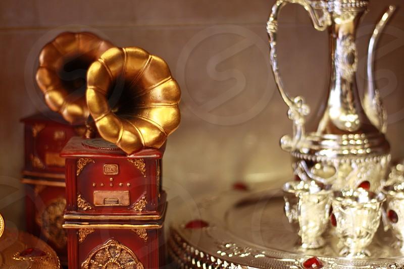 Mini golden gramophone  photo
