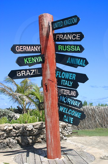travel destinations sign signpost countries photo