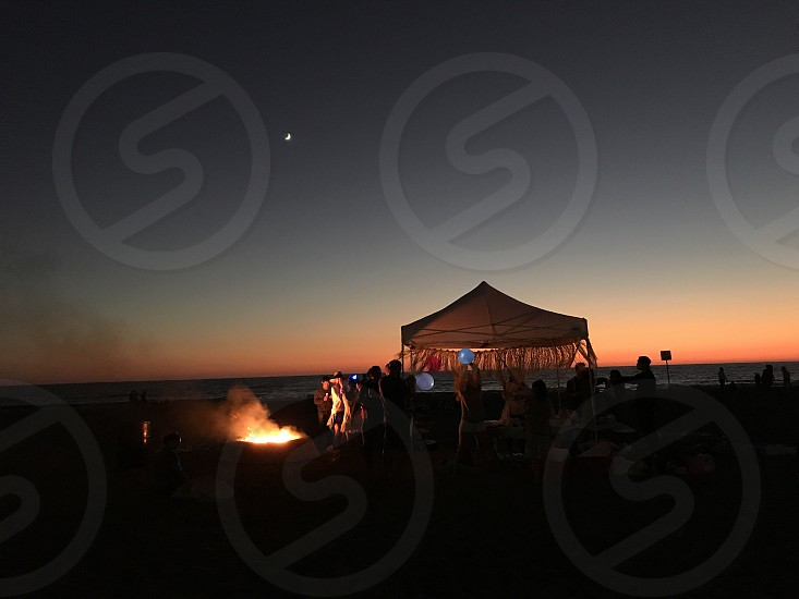 Night night out beach barbecue friends Los Angeles Fire Dockweiler State Beach photo