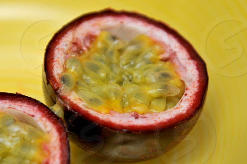 The inside of a Passion Fruit photo