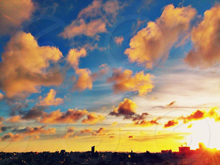 sunset over the horizon photo
