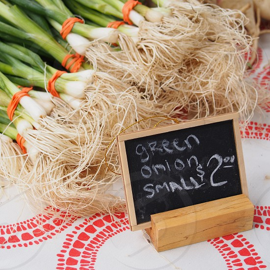 Green onions for sale at a farmer's market in Texas. photo