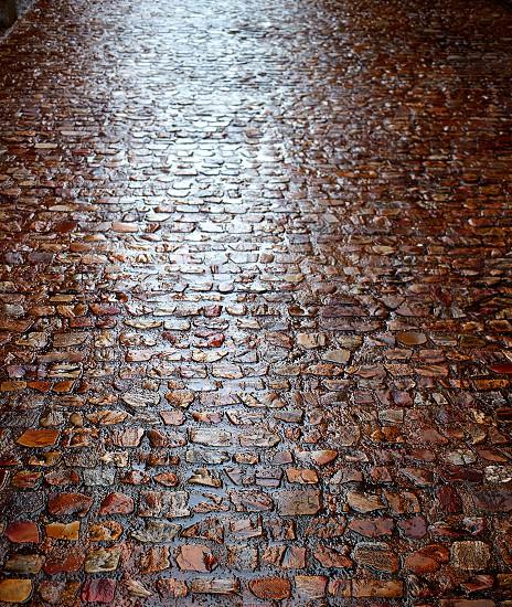Zamora stone cobblestone floor texture detail in Spain photo