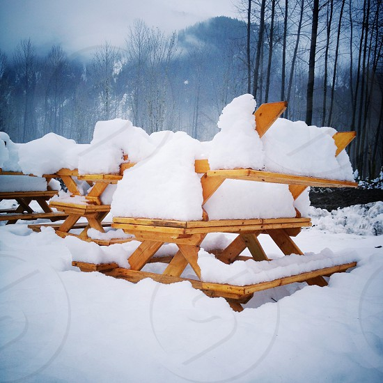 Picnic benches and tables put away for winter season photo