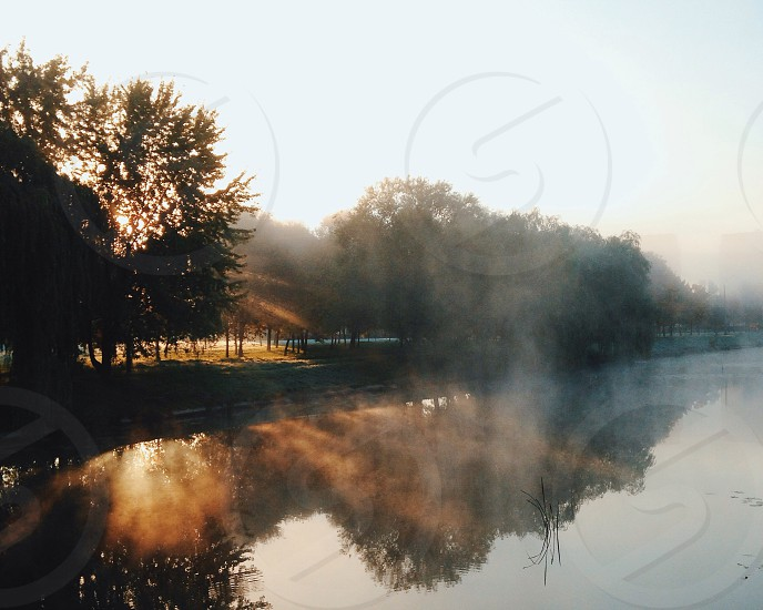 mist hanging over clear lake lined with trees during sunset photo