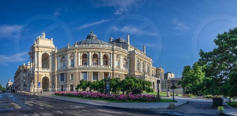 Odessa National Academic Theater of Opera and Ballet in Ukraine. Panoramic view in a summer morning photo