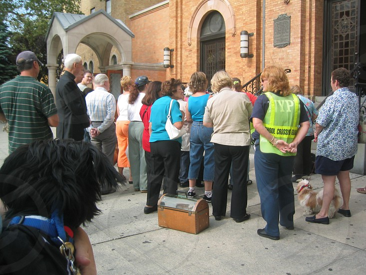 dog watching his fellow animals get blessed at church. blessing of the animals nyc photo