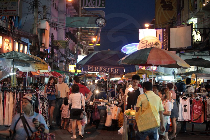 the khao san road in banglamphu in the city of Bangkok in Thailand in Suedostasien. photo