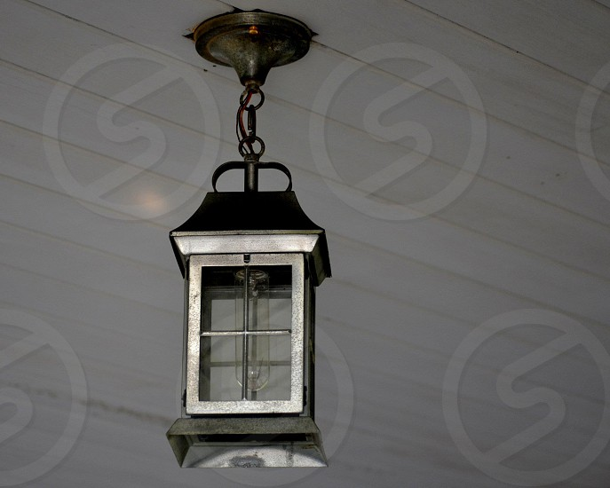black and grey lamp turned off photo