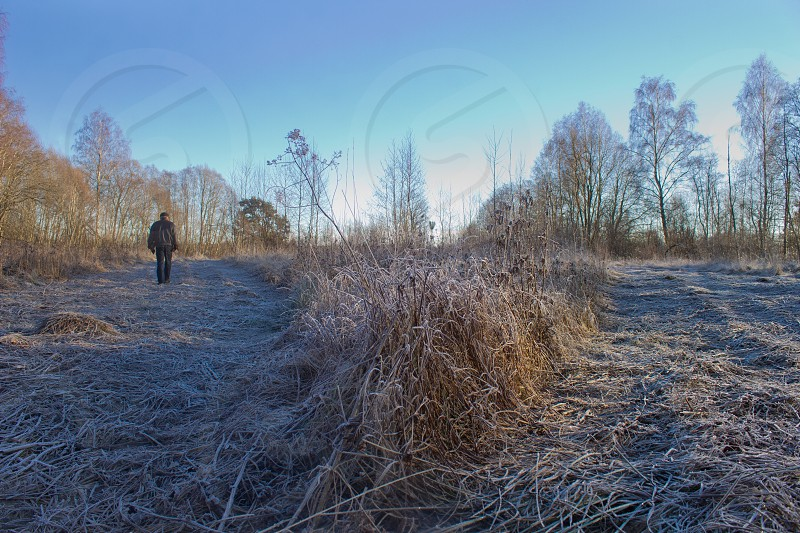 Man in the distance walking on frozen ground in the winter.   photo