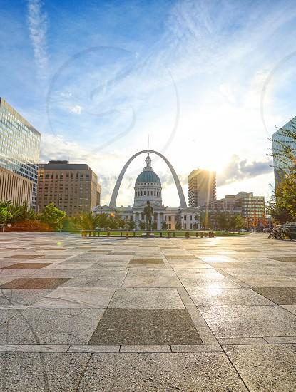 October 30 2018 - St. Louis Missouri - Kiener Plaza and the Gateway Arch in St. Louis Missouri.  photo