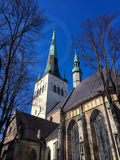 Outdoor day vertical colour church faith belief religion Christian Christianity holy Tallinn Estonia blue Sky travel tourist tourism photo