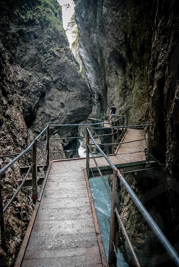 mountain walkway through rocks photo