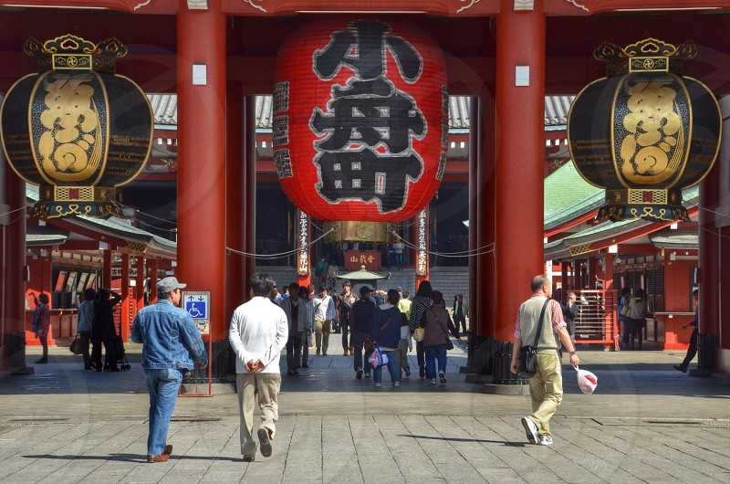 red chinese lantern hanging on entrance facade photo