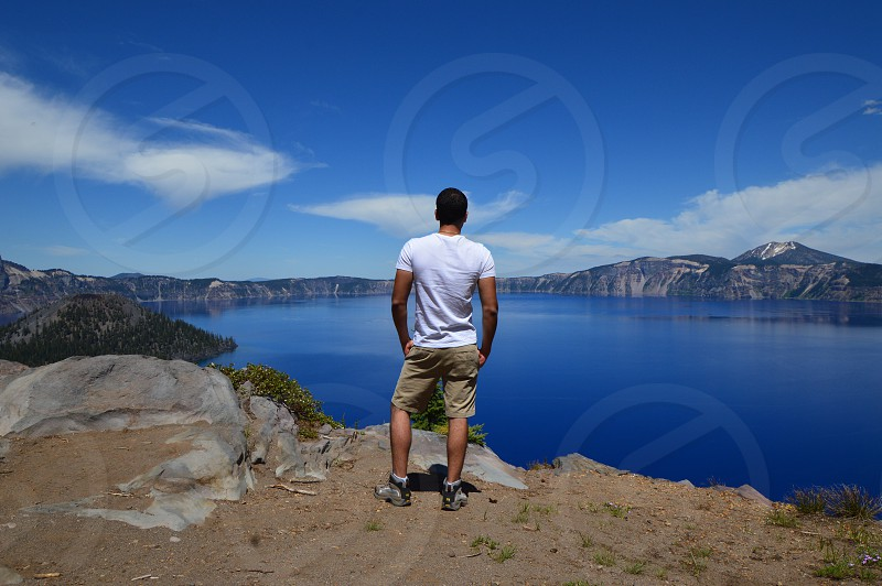 Crater lake in Oregon. Sunny beautiful day in June.  photo