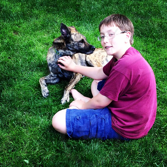 boy in red t-shirt sitting on grass holding brindle and black short haired medium sized dog photo