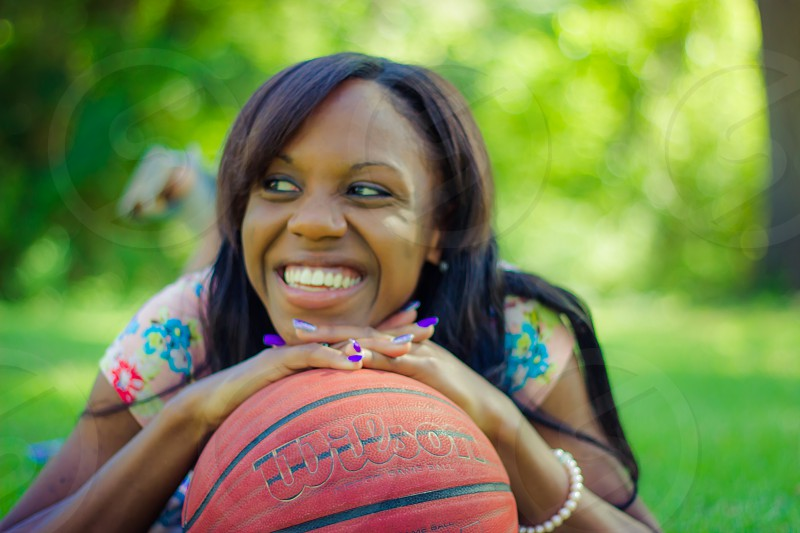 basketball sports senior pictures girl happy summer photo